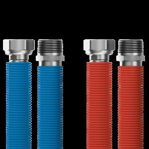 """Pripájacia súprava Merabell Aqua Flexi R1/2"""" – G1/2"""" 30 – 60 cm – 2 ks hadice (modrá, červená)"""