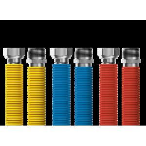 """Pripájacia súprava Merabell Flexi R3/4"""" – G3/4"""" 30 – 60 cm – 3 ks hadice (modrá, červená, žltá)"""