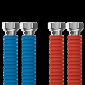 """Pripájacia súprava Merabell Aqua Flexi G3/4"""" – G3/4"""" 30 – 60 cm – 2 ks hadice (modrá, červená)"""